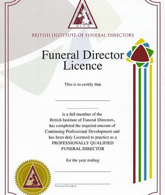 BIFD Funeral Directors Licence